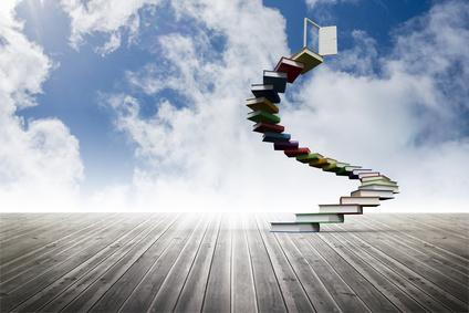 Book steps leading to door on sky